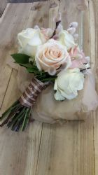 Brides Hand Tied Bouquet Pinks and Creams